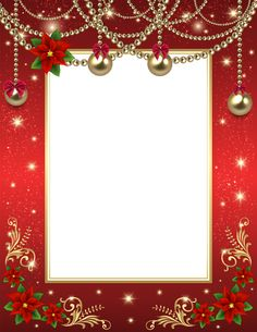 Christmas Transparent PNG Photo Frame Red