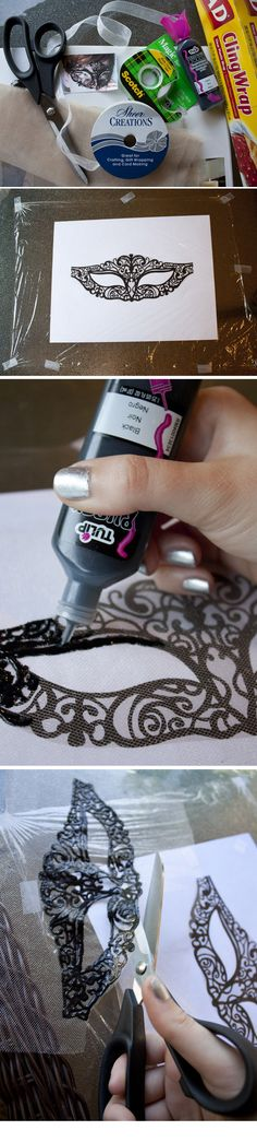 DIY :: MASK & TEMPLATE : tulle or sheer fabric, fabric scissors, ribbon, black fabric paint, saran wrap, tape... ( Link :: http://sprinklesinsprings.com/2011/10/chic-masquerade-diy-mask-template.html )