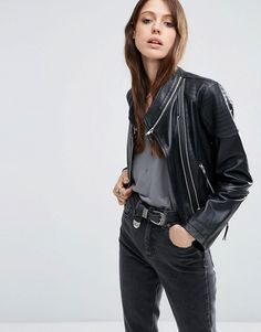 Image 1 of ASOS Leather Biker Jacket with Zip Detail