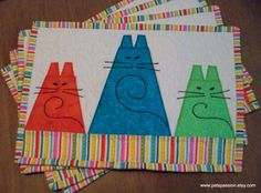Three Fat Cats Quilted Placemats Set of 4 by PatsPassion on Etsy, $80.00