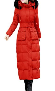 Slim Warm Hooded Duck Down Long Down Coat Long Down Coat, Duck Down, Hoods, Winter Jackets, Slim, Pockets, Night, Womens Fashion, Clothes