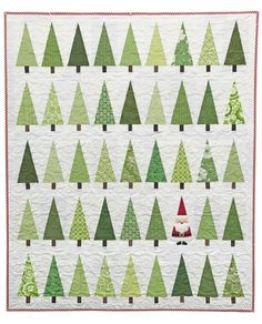 Christmas tree quilt with Santa