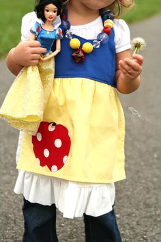Dress Up Costume Apron Inspired by Snow White Full Apron Baby and Toddler style