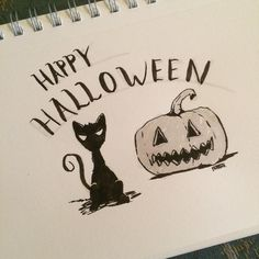 Inktober Day 31 Have a safe and fun Halloween! Thanks for checking out my posts for inktober. It been fun. #inktober #inktober2015 #ink #brushpens #halloween #jackolantern #blackcat #itsfinallyover