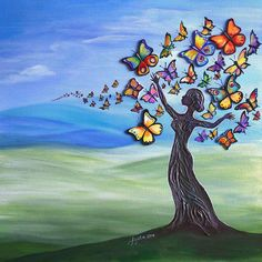 Tree of life poster featuring the painting liberation of inner beauty by agata lindquist Life Poster, Salon Names, Children Images, Beauty Art, Fashion Pictures, Fine Art America, Painting, Beautiful, Trees