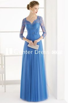 $114.79-Gorgeous Lace V-Neck Long Tulle Blue Long Mother of the Groom Dress with Sleeves. http://www.ucenterdress.com/a-line-3-4-sleeve-lace-v-neck-floor-length-tulle-prom-dress-with-flower-and-pleats-pMK_301469.html.  Tailor Made mother of the groom dress/ mother of the brides dress at #UcenterDress. We offer a amazing collection of 800+ Mother of the Groom dresses so you can look your best on your daughter's or son's special day. Low Prices, Free Shipping. #motherdress