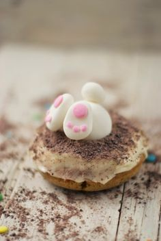 Little Bunny Foo Foo hopped into my kitchen today and landed in some carrot cake doughnuts while looking for something to eat. Cute Desserts, Sweets Recipes, Easter Cookies, Easter Treats, Holiday Snacks, Holiday Recipes, Sheep Cake, Eating Carrots, Baked Carrots