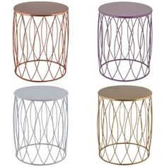 $139ea. Alfie-Gold-Copper-White-Lilac-Purple-Iron-Stool-Round-Side-Coffee-Tables-Living. Ebay