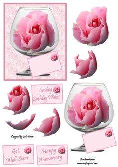 The glass rose on Craftsuprint designed by Julie Green - A beautiful rose in a brandy glass, suitable for many occasions. Makes a lovely topper - Now available for download!
