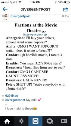 Factions at the movie theater