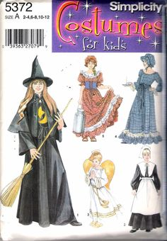 """2003 Simplicity 5372 Girl's Costume Witch, Pilgrim, Angel, Milk Maid, Colonial Dress Sewing Pattern Size A 2-12, Breast 21"""" - 30"""" by Recycledelic1 on Etsy"""