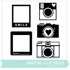 Cameras & Frames Digital Cut Files These particular ones are not free but the seller has freebies and the rest are reasonably priced Silhouette Images, Silhouette Portrait, Silhouette Files, Silhouette Design, Scrapbook Supplies, Scrapbooking Layouts, Digital Scrapbooking, Scrapbook Cards, Camera Frame