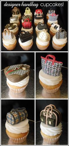Can't go wrong with some designer handbag cupcakes . cheaper than buying a new handbag anyway ;-) <<< I need these cupcakes in my life! Pretty Cakes, Cute Cakes, Beautiful Cakes, Amazing Cakes, Fun Cupcakes, Cupcake Cookies, Purse Cupcakes, Cupcake Art, Strawberry Cupcakes