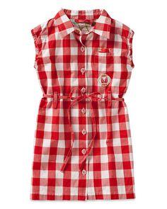 "Oilily Girls' ""Dibet"" Red Gingham Wrap Dress"