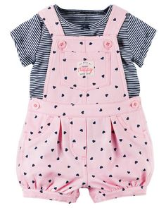 Baby Girl 2-Piece Top & Shortalls Set from Carters.com. Shop clothing & accessories from a trusted name in kids, toddlers, and baby clothes.