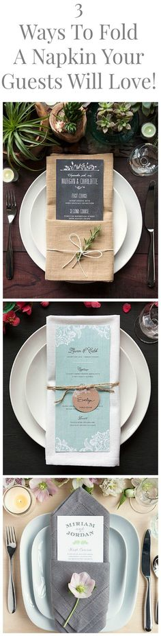 3 Great Ways To Fold A Napkin For Your Dinner Party or Wedding That Will Stun Your Guests folding ideas with menu card Wedding Napkins Wedding Table Decorations, Table Centerpieces, Wedding Table Cards, Diy Wedding Napkins, Wedding Centerpieces, Wedding Napkin Folding, Paper Napkin Folding, Rehearsal Dinner Decorations, Folding Napkins