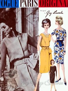 CLASSY 60s VOGUE Paris Original 1160 Guy Laroche Lovely Slim Dress Beautiful Style Bust 34 Vintage Couture Sewing Pattern