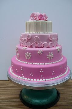 Sweet Pink wedding cake I like color on bottom layer