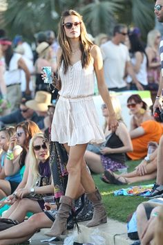 There's nothing easier (or more suited) for festivals than a feminine dress and comfy boots.