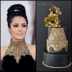 Presenting... The Red Carpet Collaboration! Here's the side by side comparison. The Inspiration Gown and my cake  Red Carpet events are THE place to see the boldest and most stunning creations from the design industry. This collaboration is all about celebrating the genius behind the stitches and sketches by transforming fashion into cake!  My cake is inspired by an Alexander McQueen Couture gown worn by Salma Hayek at the 2013 Oscars.  I love the high-neck cut on this dress with a Baroque…