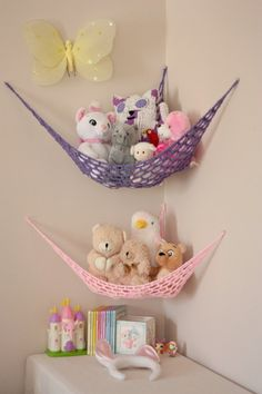 Items similar to Set of TWO MINI Lovey Corral Toy Hammock in Your Choice of Colors - Toy Net- Stuffed Animal Organizer - Made to Order on EtsyBilderesultat for stuffed animal hammock[gallery Hanging stuffed animal storage is perfect idea to organize Stuffed Animal Hammock, Stuffed Animal Net, Stuffed Animal Holder, Toy Net, Toy Hammock, Kids Room Organization, Playroom Ideas, Toy Storage, Storage Ideas