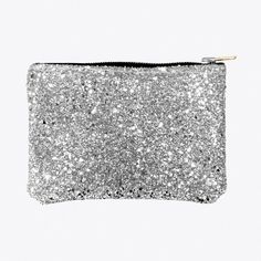 Glitter Zip Pouch Silver Large By Pup Tart Handmade - Fy