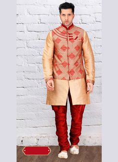 Attain a uber cool ethnic look in such a Brown Dupioni Raw Silk Men's Indo Western. All patterns are intricately embellished with Lace work. Sherwani Groom, Mens Sherwani, Wedding Sherwani, Wedding Men, On Your Wedding Day, Royal Look, Ethnic Looks, Uber, Westerns