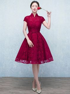Wine Red A-Line Lace Qipao / Cheongsam Wedding Dress