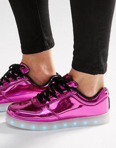 Rosa | Zapatillas de deporte en rosa pop con suela con luces de Wize & Ope en ASOS
