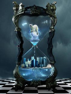 its about global warming The beautiful hourglass pic can found here HOurglass Dark Fantasy Art, Dark Art, Hourglass Sand Timer, Hourglass Tattoo, Clock Art, Clocks, Bild Tattoos, Environmental Art, Time Art