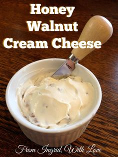 Honey Walnut Cream Cheese- This cream cheese is so good! It's so yummy on bagels and super easy to make. | From Ingrid, With Love