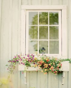 Sweet flowery window with a cream window pane and simple flower box #flowers #interiors