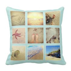 Beachy Blue Pillow With Photo Collage | Your Instagram Photos Collage