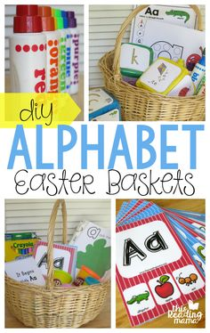30 perfect non candy easter basket ideas for preschoolers diy alphabet easter baskets negle Images