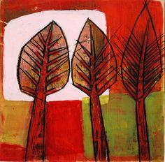 "(c) Barbara Gilhooly 6"" x 6"", acrylic on birch trio-with-pink-2013 by gilhooly studio, via Flickr  http://barbaragilhooly.com/  $150."
