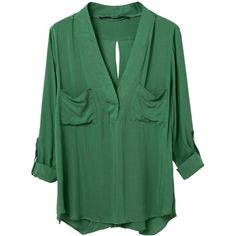 WithChic Green V Neck Slit Back Roll Up Blouse ($20) ❤ liked on Polyvore featuring tops, blouses, roll top, long slit top, long tops, long blouses and green top