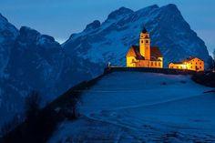 La chiesa di Colle Santa Lucia Belluno Dolomiti Veneto Italia by Fridolino Bernardi