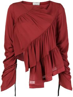 Shop online Phillip Lim Ruffle-Layered Blouse as well as new season, new arrivals daily. New Fashion, Girl Fashion, Fashion Outfits, How To Wear Shirt, Stylish Tops For Women, Fashion Details, Fashion Design, How To Wear Scarves, Looks Cool