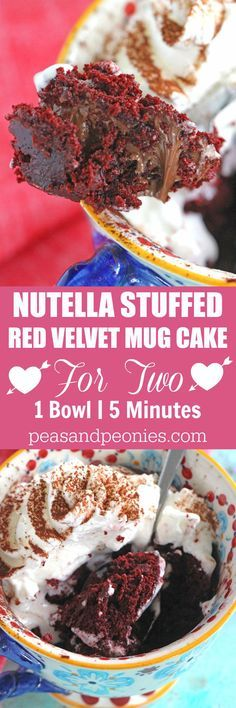 5 minutes, few ingredients and 1 bowl is what you need to make this Nutella Stuffed Red Velvet Mug Cake that has been perfectly portioned for two! Mug Recipes, Nutella Recipes, Easy Cake Recipes, Cupcake Recipes, Dessert Recipes, Recipies, Easy Desserts, Delicious Desserts, Yummy Food