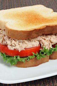 Classic Tuna Salad Sandwiches Recipe with Onion, Celery, Lemon Juice, Relish, and Mustard Powder
