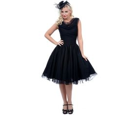 Unique Vintage 1950s Style Black First Date Swing Dress ($25) ❤ liked on Polyvore