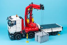 Lego Crane Truck | Technic truck with crane originally made … | Flickr Lego Technic Truck, Lego Truck, Plastic Model Kits, Plastic Models, Lego Crane, Lego Tractor, Lego Building Sets, Lego Machines, Lego Projects