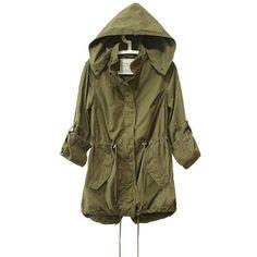 Women Jacket Winter Warm Army Green Military Parka Trench Hooded Coat Jacket