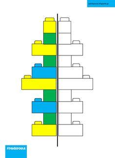 Συμπληρώνω τα χρωματικά μοτίβα στα τουβλάκια Lego Activities, Preschool Learning Activities, Lego Basic, Lego Models, Kits For Kids, Lego Duplo, Childcare, Legos, Bar Chart