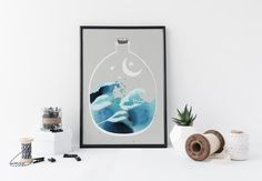 Japanese waves art print, watercolor wall art, ocean, nature poster, minimal simple wall art, home decor, modern, nursery decor, blue, water  ………………………………….…………………………………. I am a Canadian based artist and all artwork is done by me in my studio. This is an archival high quality print of my original illustration and is dated and signed in the back. It is printed on fine art, 100% cotton, archival paper.   ❋FRAME NOT INCLUDED❋  Prints are full bleed, no white border or margins added. The image…