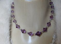 SOLD Amethyst Crystal Necklace Signed Simmons Necklace by Justelechose