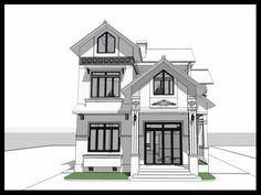 Biệt thự đẹp 2 tầng 9x11m này thuộc Đông tứ trạch Small House Exteriors, Modern House Facades, My Home Design, House Design, Kerala Houses, Street House, Facade House, Miniature Houses, Small House Plans