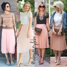 Looks de hoje com saia midi plissada rose, que é chique e feminina! Pode usar n. Casual Work Outfits, Mode Outfits, Fashion Outfits, Womens Fashion, Midi Skirt Outfit, Skirt Outfits, Hipster Mode, Elegantes Outfit Frau, Pink Pleated Skirt