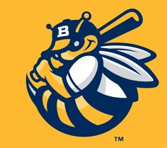 Burlington Bees Cap Logo (2007) - A yellow and blue bee holding a baseball bat on yellow, worn on Burlington Bees alternate caps