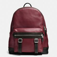 Coach Flag Backpack ($795) ❤ liked on Polyvore featuring bags, backpacks, maroon, coach backpack, utility backpack, day pack backpack, strap backpack and utility bag